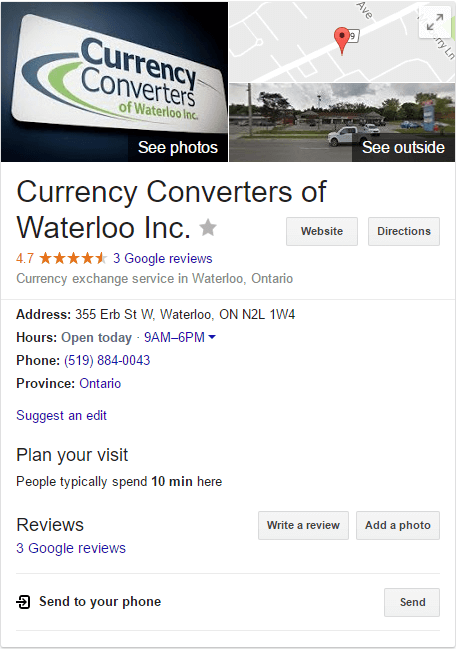 Google Reviews for Currency Converters Inc in Kitchener-Waterloo
