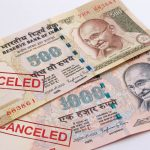 Indian 500 and 1000 rupee banknotes devalued show risks of foreign currency